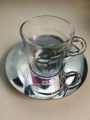 NESPRESSO VIEW COLLECTION Espresso Glass Cup & Stainless Steel Saucer Set • 3.80£