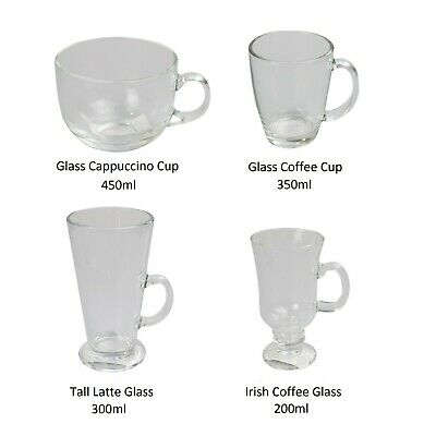 £6.99 • Buy Tall Latte, Irish Coffee, Cappuccino And Coffee Cup  Glasses Set Of 2, 4 Or 6
