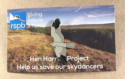 £4.75 • Buy RSPB GNaH Pin Badge On Picture Card - Save Our Skydancers Hen Harrier Project