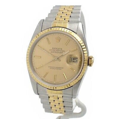 $ CDN3978.14 • Buy Rolex Datejust 16233 S/s & 18k Vintage Gents Watch 34mm W/box & Papers #10126