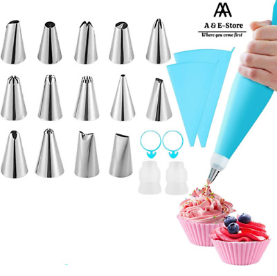 £3.99 • Buy 14 Pieces Cake Decorating Set Pastry Bag Nozzle Baking Accessories Icing Piping