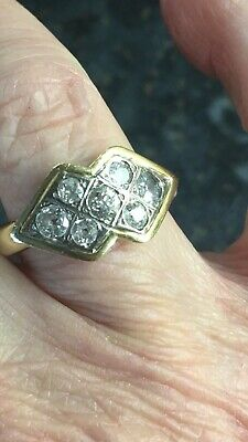 18ct Gold & Diamond Art Deco Ring. Size S/T Weight 6.3grams • 415£