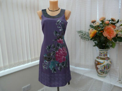 BNWT John Rocha Debenhams Purple Embroidered  Dress Sz 10 UK • 9.90£