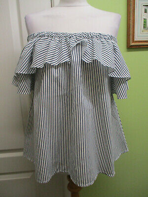 BNWT BOOHOO Size 12 WOMENS TOP OFF THE SHOULDER BLACK & WHITE STRIPED • 6.99£