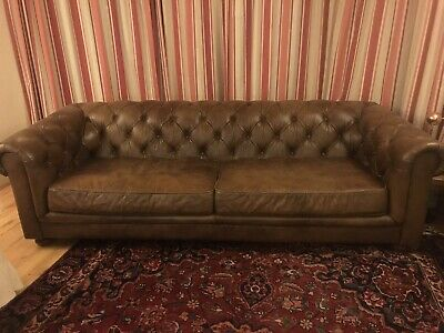 Halo Earle Chesterfield Grand 4 Seater Leather Sofa, Antique Whisky RRP £2499 • 1,300£