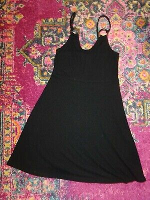 Topshop Black Ribbed Strappy Dress Size 10 Cami Fit & Flare Dress 90s Y2K Style • 6£