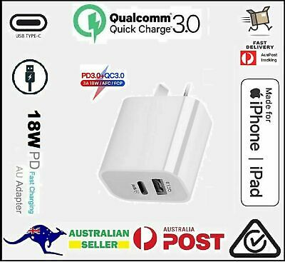 AU14.50 • Buy IPhone 12 USB C 18W Ipad Fast Wall Charger Type C Dual Port Plug Power Adapter