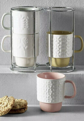 £14.95 • Buy Next Set Of 4 Embossed Flower Stacking Mugs And Stand New CLEARANCE SALE