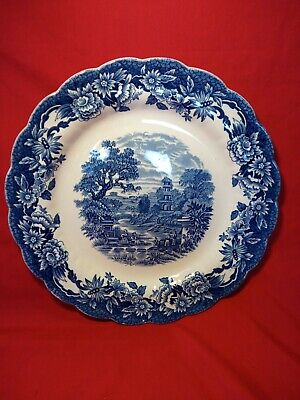 Vintage Ridgway Woburn Blue Hand Engraved PLATE 30cm 12  Staffordshire Pottery • 3.99£