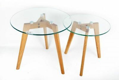 Set Of 2 Glass Top With Oak Legs Side Nest Tables Home Office Decoration • 61.99£