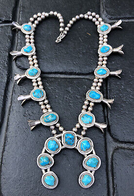 $ CDN1135.49 • Buy Vtg Navajo Sterling Silver Natural Castle Dome Turquoise Squash Blossom Necklace