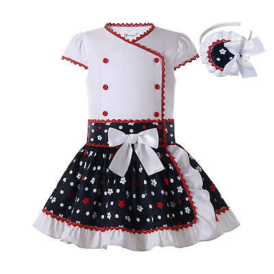 Spanish Girls Shirt Top Skirt Set Birthday Party Outfit Pageant Polka Dot Summer • 25.86£