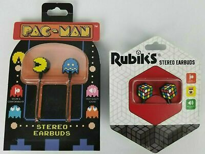 £11.81 • Buy Pac-Man And Rubik's Cube Stereo Earbuds Retro Style Collectible New Lot Of 2