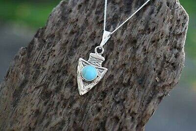 Native American 925 Sterling Silver Arrowhead Gemstone & Turquoise Necklace • 18.99£