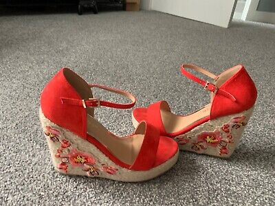 Nasty Girl Coral Wedges With Floral Pattern, Worn Once • 4.50£