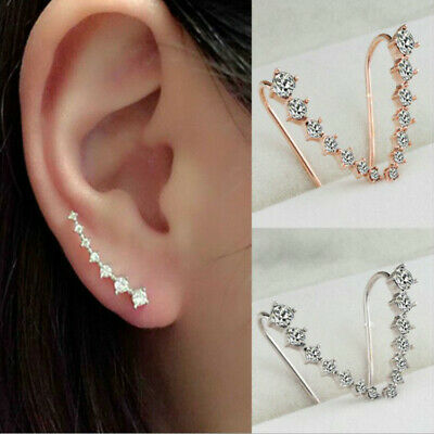 AU5.89 • Buy 7 Crystals Ear Cuffs Hoop Climber Crawler Sterling Long Silver Stud Earrings