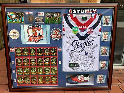 AU450 • Buy 2013 Syd Roosters Signed Framed Embroidered Jersey By  Squad Boot,coasters