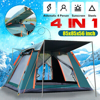 AU88.81 • Buy Fully Automatic Camping Tent UV Shade Family Hiking Fishing Picnic 4Person Tent