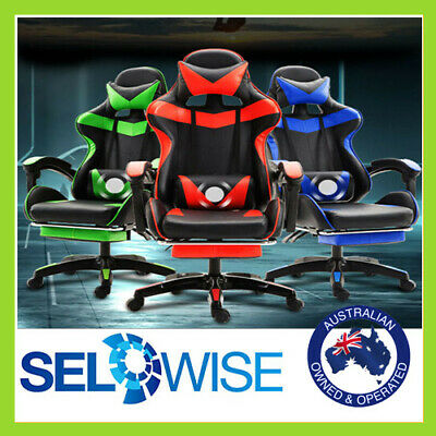 AU119 • Buy Pro Gaming Chair Office Computer Seating Racing PU Leather Executive Neck&Lumber