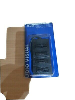 4 Way Scart Lead Cable Splitter Adaptor Adapter Extension Box • 2.99£