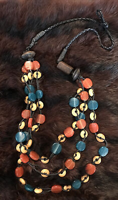 "Bead Necklace Turquoise Blue Resin  Brown Wood Black String Triple Loops 24"" • 1.50£"