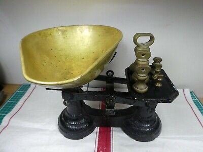 £49.99 • Buy Vintage Victorian England Cast Iron Kitchen Scales & Brass Imperial Bell Weights
