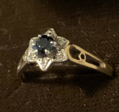 Ladies 9CT Gold Sapphire And Diamond Ring Size J • 21£