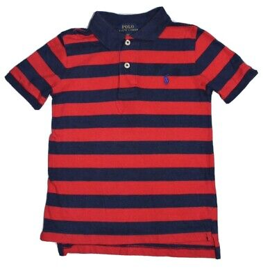 Boys Ralph Lauren Age 4 Red And Navy Polo T-shirt • 3£