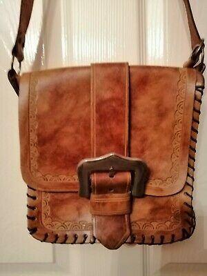 Ladies Leather Light Tan Carved And Woven Bag Shoulder Strap Non Adjustable • 10£