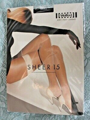 Wolford Sheer 15 Hold Up Stockings Black. S BNIP • 5£