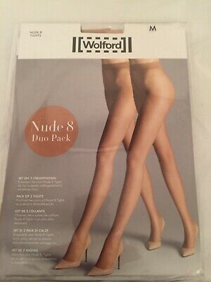 Wolford Nude 8 Tights Duo Pack M Fairly Light Perfect Condition • 11.50£