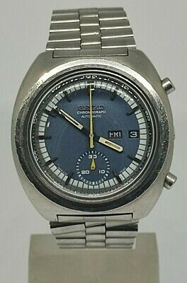 $ CDN317.77 • Buy Seiko 6139 7002 Chronograph Automatic Watch Tachymeter Blue Dial Day Date Rare