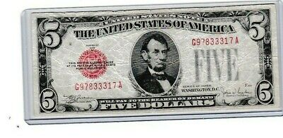 $ CDN20.41 • Buy 1928 E $5 United States Note Five Dollar Bill With Red Seal, 1st Year Note