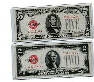 $ CDN33.17 • Buy 1928 E $5 United States Note & 1928g 2 Red Seal Note, Both Are 1st Year Notes