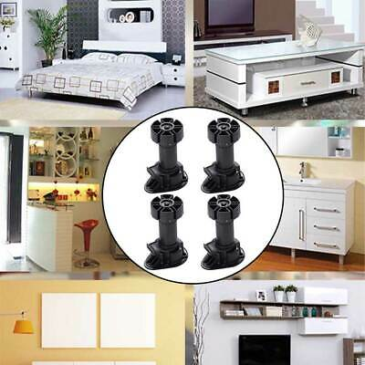 4pcs Bed Cabinet Foot Accessories Adjustable Height Furniture Cupboard Leg Black • 10.45£
