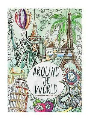 AU7.99 • Buy Adult Kids Colouring Books De-stress A4 Size Around The World 48 Pages