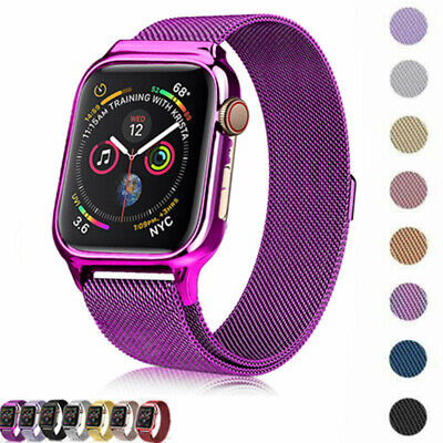 AU15.29 • Buy Magnetic Milanese Loop Band Frame PC Case For Apple Watch Series 4 5 6 40mm 44mm