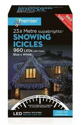 Premier 960 LED Snowing Icicles Timer Christmas Lights - Blue & White • 99.99£