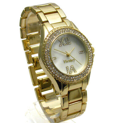 £14.99 • Buy Henley Ladies Diamante Watch Gold-tone Mother Of Pearl Face Gift Boxed #434