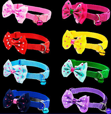 Bow Tie Collar Adjustable Dot Design With Bell For Kitten Puppy Or Small Dog Cat • 1.79£