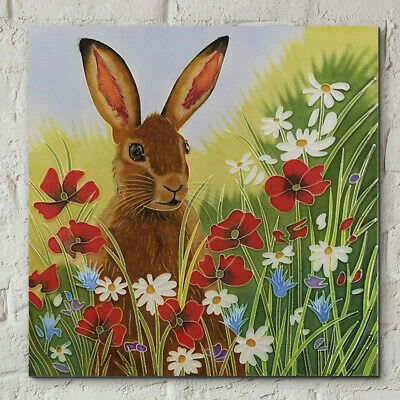 £22.95 • Buy Ceramic Picture Tile  HARE In FLOWERS  By Judith Yates Wall Art 8  X 8  Boxed