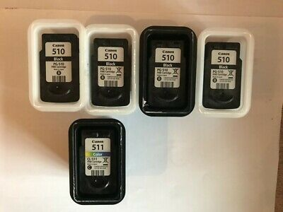 Canon Printer Ink Cartridges Genuine 1 X Colour CL-511 + 4 X Black PG-510-EMPTY • 14.90£
