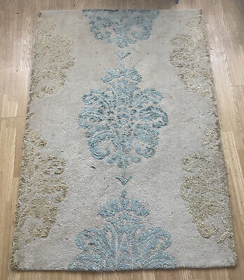 £12 • Buy Next Wool Rug Floral Grey/turquoise /neutral Colours 120cmx170cm