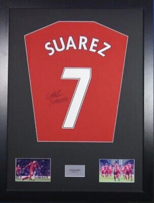 Signed Luis Suarez Liverpool Shirt In Large Professional Frame • 149£