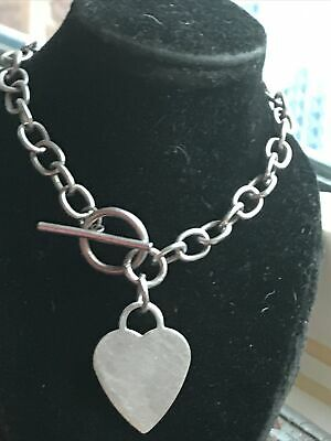 THICK HEAVY SOLID SILVER 925 T Bar Heart Big Link Necklace-chain. Or Bracelet!. • 44£