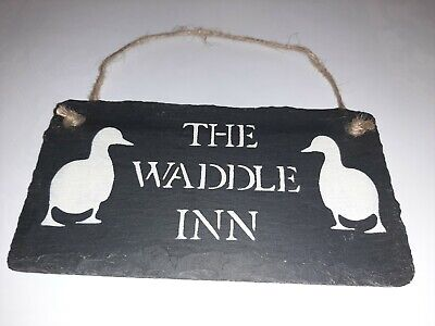 £9.50 • Buy The Waddle Inn Duck Sign Natural Slate Duck Shed