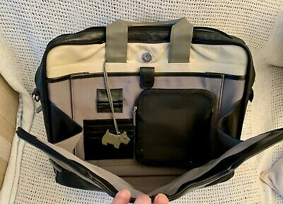 Large Classic *RADLEY* Black Leather Briefcase Laptop Work Bag • 32£