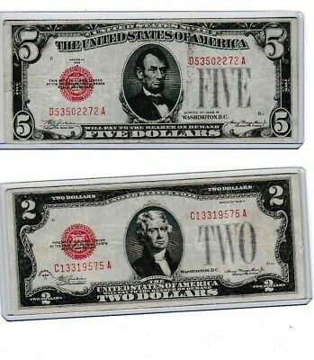 $ CDN29.35 • Buy 1928B $5 RED SEAL,1ST YEAR NOTE & 1928D $2 Red Seal Lot Of 1 Each 1st Year Notes