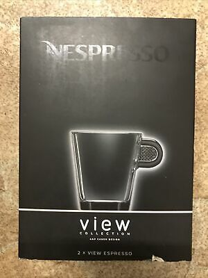 NEW & BOXED  NESPRESSO ESPRESSO CUPS & SAUCERS X 2 VIEW COLLECTION Unused • 5.30£