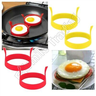 Silicone Egg Rings Fried Frying Pan Round Mould Pancakes Burger Onions Non Stick • 2.89£